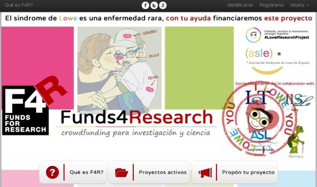 Acceso a la web para la financiación para la investigación de la enfermedad de Lowe dentro del proyecto Funds for Research (clicando sobre la imagen)